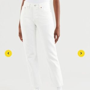 Levi's 501 High Waisted Women White Jeans